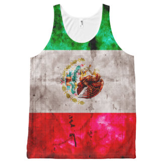 Weathered Vintage Mexico Flag All-Over Print Tank Top
