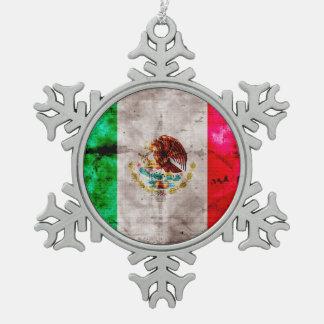 Weathered Vintage Mexico Flag Snowflake Pewter Christmas Ornament