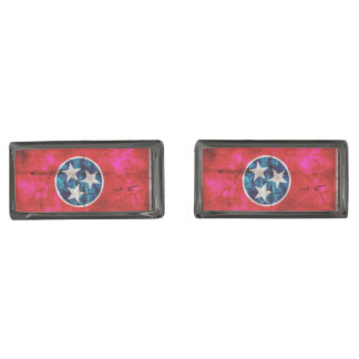 Weathered Vintage Tennessee State Flag Gunmetal Finish Cuff Links