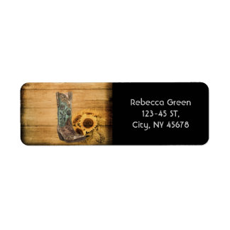 Weathered Western Country sunflower cowboy boot Return Address Label