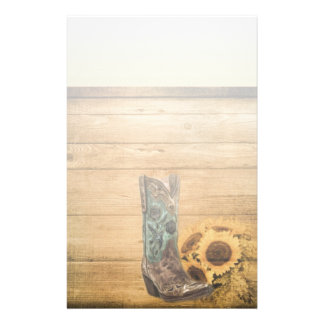 Weathered Western Country sunflower cowboy boot Stationery