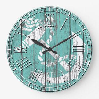 Weathered White Anchor Large Clock