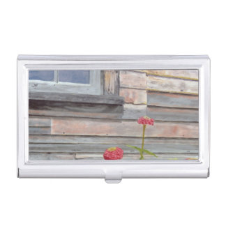 weathered wood and zinnias business card holder