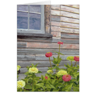 Weathered wood and Zinnias Card