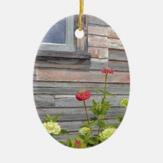 Weathered wood and Zinnias Ceramic Oval Decoration