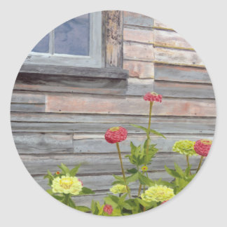 Weathered wood and Zinnias Classic Round Sticker