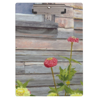 weathered wood and zinnias clipboard