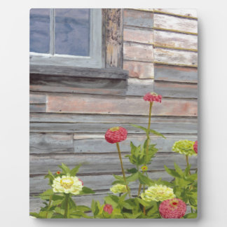 Weathered wood and Zinnias Display Plaques
