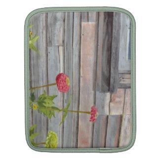 weathered wood and zinnias iPad sleeve