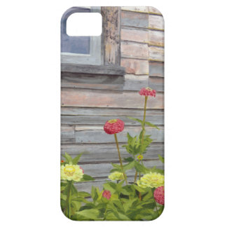 Weathered wood and Zinnias iPhone 5 Cases
