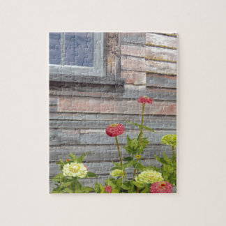 Weathered wood and Zinnias Jigsaw Puzzle