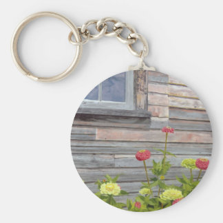 Weathered wood and Zinnias Key Ring