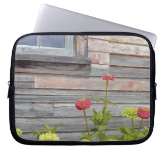 weathered wood and zinnias laptop sleeve