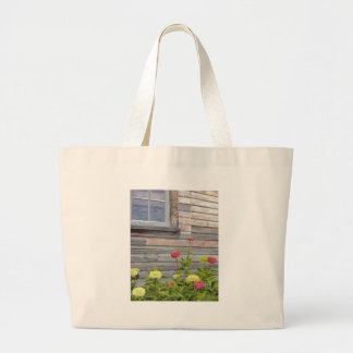 Weathered wood and Zinnias Large Tote Bag
