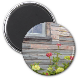 Weathered wood and Zinnias Magnet