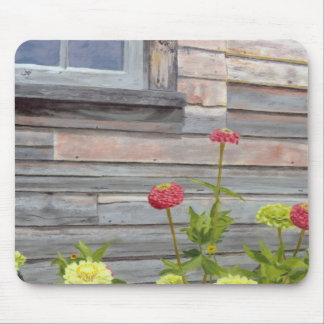 Weathered wood and Zinnias Mouse Pad