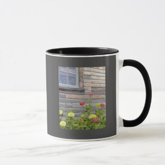 Weathered wood and Zinnias Mug