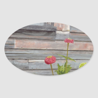 Weathered wood and Zinnias Oval Sticker