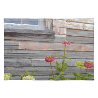 Weathered wood and Zinnias Placemat