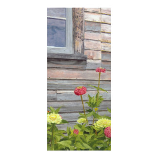 weathered wood and zinnias rack card