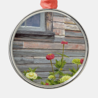 Weathered wood and Zinnias Silver-Colored Round Decoration