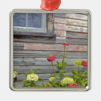Weathered wood and Zinnias Silver-Colored Square Decoration