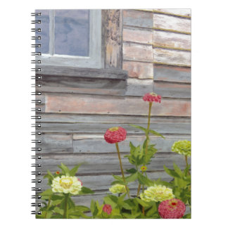 Weathered wood and Zinnias Spiral Notebook