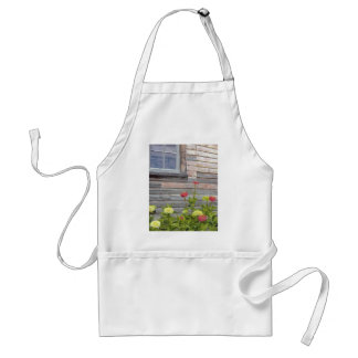 Weathered wood and Zinnias Standard Apron