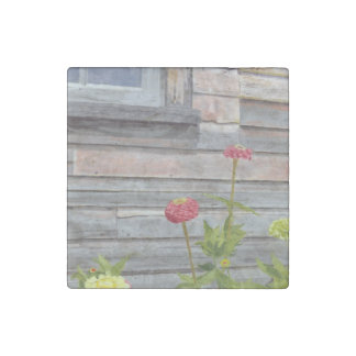 weathered wood and zinnias stone magnet