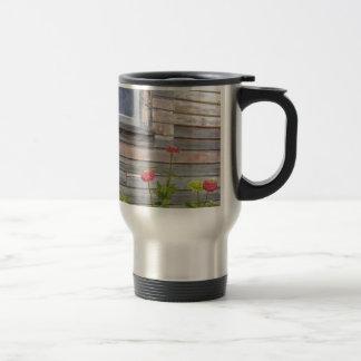 Weathered wood and Zinnias Travel Mug