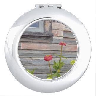 weathered wood and zinnias vanity mirrors
