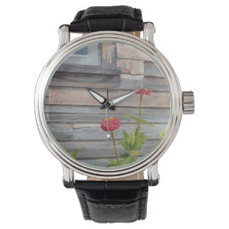 weathered wood and zinnias watch