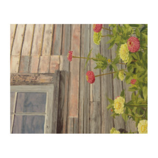 weathered wood and zinnias wood wall art