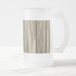 Weathered Wood Board Pattern Glass Beer Mug