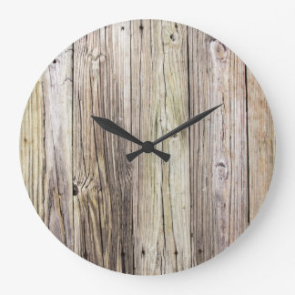 Weathered Wood Boards Large Round Wall Clock