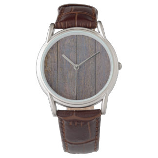 Weathered Wood Brown Leather Watch