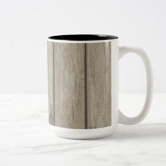 Weathered Wood Grain Pattern Coffee Mugs