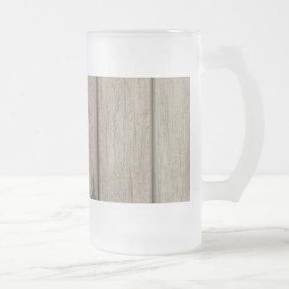Weathered Wood Grain Pattern Glass Beer Mug