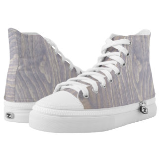 Weathered Wood Gray High Top Shoes Printed Shoes