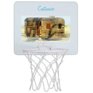 Weathered wood gypsy caravan mini basketball hoop
