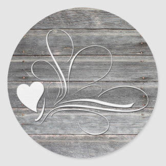 Weathered Wood Heart Design Classic Round Sticker