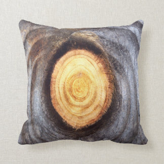 Weathered Wood Knot Throw Pillow