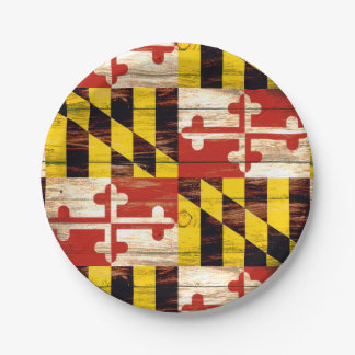 Weathered wood Maryland flag paper plates