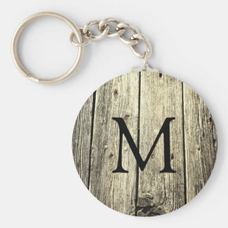 Weathered Wood Monogram Key Ring