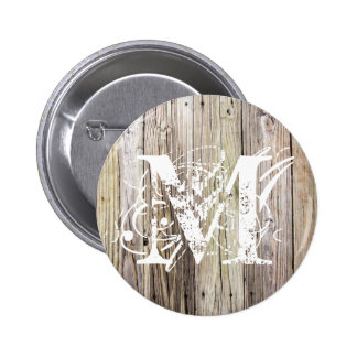 Weathered Wood Monogrammed Button