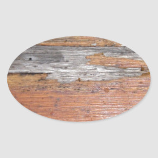 Weathered wood oval sticker