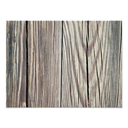 Weathered Wood Plank w Grain Background Template Photographic Print