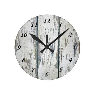 Weathered Wood Round Clock