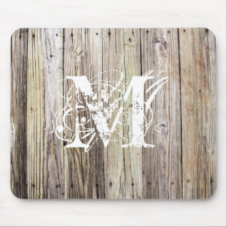 Weathered Wood with Shabby Chic Monogram Mouse Pad