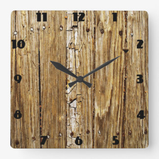 Weathered Wooden Deck Wall Clock